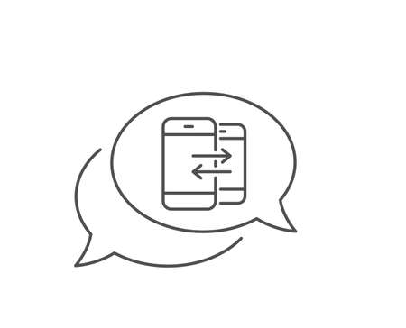 Phone Communication line icon. Chat bubble design. Incoming and Outgoing call sign. Conversation or SMS symbol. Outline concept. Thin line phone Communication icon. Vector Foto de archivo - 131753611