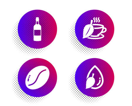 Coffee beans, Mint tea and Brandy bottle icons simple set. Halftone dots button. Water drop sign. Vegetarian seed, Mentha beverage, Whiskey. Mint leaf. Food and drink set. Vector