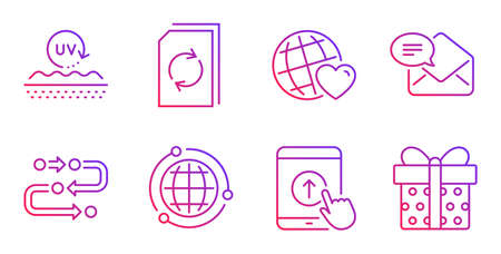Uv protection, New mail and Update document line icons set. Friends world, Methodology and Globe signs. Swipe up, Gift box symbols. Skin cream, Received e-mail. Business set. Vector