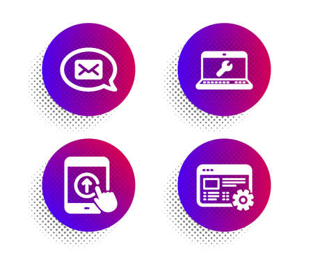 Messenger, Swipe up and Laptop repair icons simple set. Halftone dots button. Web settings sign. New message, Scrolling screen, Computer service. Engineering tool. Technology set. Vector