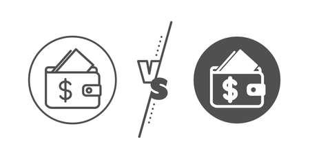 Affordability sign. Versus concept. Wallet line icon. Cash savings symbol. Line vs classic wallet icon. Vector