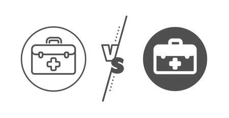 Medicical kit sign. Versus concept. First aid line icon. Pharmacy medication symbol. Line vs classic first aid icon. Vector Illusztráció