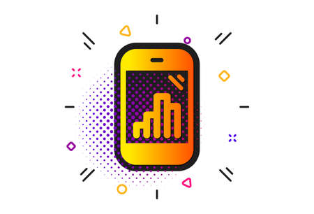Column chart sign. Halftone circles pattern. Graph phone icon. Growth diagram symbol. Classic flat graph phone icon. Vector Çizim
