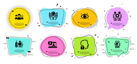 Employees teamwork, Health eye and Survey line icons set. Chat bubbles with quotes. Employee hand, Teamwork and Medical help signs. Unlock system, Medical vaccination symbols. Vector Illustration