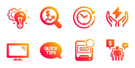 Quickstart guide, Recovery ssd and Idea gear line icons set. Time change, Safe energy and Currency audit signs. Monitor, Teamwork symbols. Helpful tricks, Backup info. Science set. Vector
