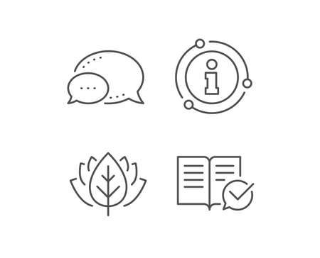 Approved documentation line icon. Chat bubble, info sign elements. Accepted or confirmed sign. Instruction book. Linear approved documentation outline icon. Information bubble. Vector Stock fotó - 131753741