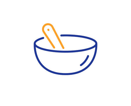 Bowl with spoon sign. Cooking mix line icon. Food preparation symbol. Colorful outline concept. Blue and orange thin line cooking mix icon. Vector