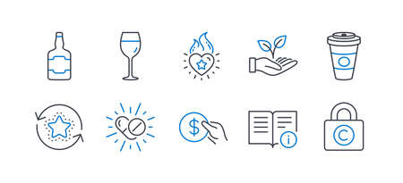 Set of Business icons, such as Medical drugs, Payment, Wine glass, Takeaway coffee, Technical info, Heart flame, Loyalty points, Whiskey bottle, Helping hand, Copyright locker line icons. Vector Stock fotó - 131639921