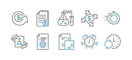 Set of Education icons, such as Fast recovery, Technical algorithm, Financial documents, Strategy, Time management, Dollar exchange, Payment exchange, Technical documentation, Update time. Vector