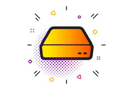 Small computer device sign. Halftone circles pattern. Mini pc icon. Classic flat mini pc icon. Vector