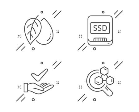Mineral oil, Ssd and Dermatologically tested line icons set. Chemistry lab sign. Organic tested, Memory disk, Organic. Lab research. Science set. Line mineral oil outline icon. Vector