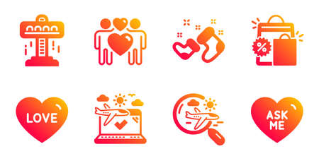 Love couple, Attraction and Santa boots line icons set. Search flight, Shopping bags and Love signs. Airplane travel, Ask me symbols. Lovers, Free fall. Holidays set. Vector
