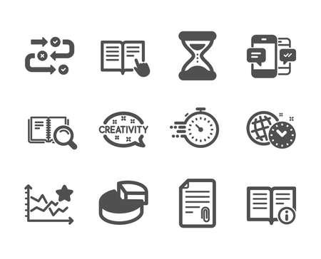 Eine Reihe von Bildungssymbolen wie Timer, Leseanweisungen, Zeitmanagement, Suchbuch, Kreativität, Umfragefortschritt, Anhang, Ranglistensterne, Zeit, Kreisdiagramm, Smartphone-SMS. Timer-Symbol. Vektor