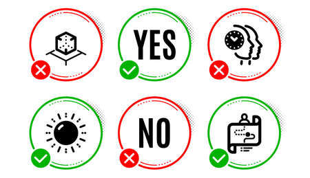 Sun energy, Augmented reality and Time management icons simple set. Yes no check box. Journey path sign. Solar power, Virtual reality, Teamwork clock. Project process. Technology set. Vector Çizim