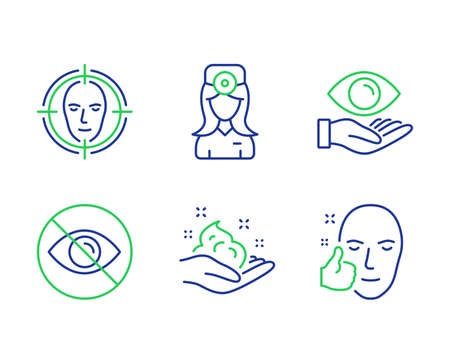 Health eye, Not looking and Oculist doctor line icons set. Face detect, Skin care and Healthy face signs. Optometry, Eye care, Optometrist. Select target. Medical set. Vector