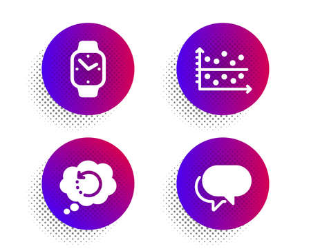 Recovery data, Dot plot and Smartwatch icons simple set. Halftone dots button. Talk bubble sign. Backup info, Presentation graph, Digital time. Chat message. Education set. Vector