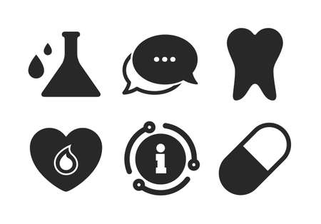 Pill, tooth, chemistry and heart signs. Chat, info sign. Maternity icons. Blood donation symbol. Lab bulb with drops. Dental care. Classic style speech bubble icon. Vector