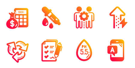 Ph neutral, Finance calculator and Employees teamwork line icons set. Chemistry pipette, Survey checklist and Energy growing signs. Recycle, Ab testing symbols. Water, Calculate money. Vector