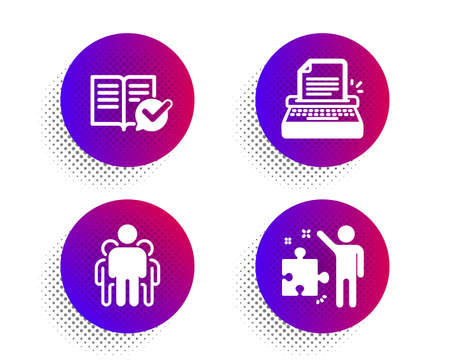 Approved documentation, Group and Typewriter icons simple set. Halftone dots button. Strategy sign. Instruction book, Managers, Writer machine. Business plan. Education set. Vector