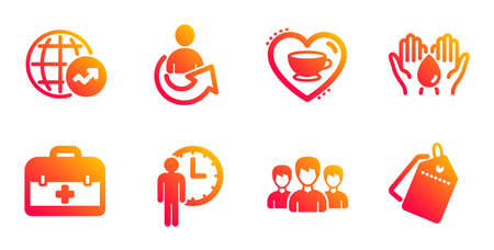 Waiting, Share and World statistics line icons set. Safe water, First aid and Group signs. Love coffee, Sale tags symbols. Service time, Referral person. Business set. Vector Illusztráció
