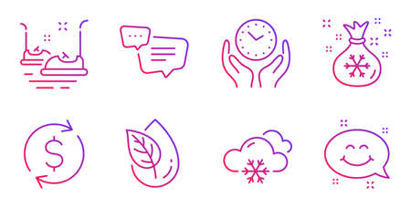 Organic product, Safe time and Dollar exchange line icons set. Text message, Bumper cars and Santa sack signs. Snow weather, Smile chat symbols. Leaf, Hold clock. Business set. Vector