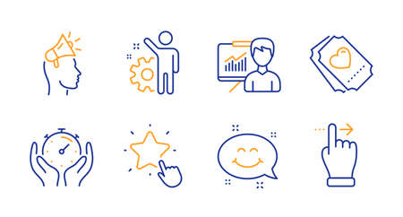 Employee, Love ticket and Brand ambassador line icons set. Smile chat, Timer and Presentation signs. Ranking star, Touchscreen gesture symbols. Cogwheel, Heart. People set. Line employee icon. Vector