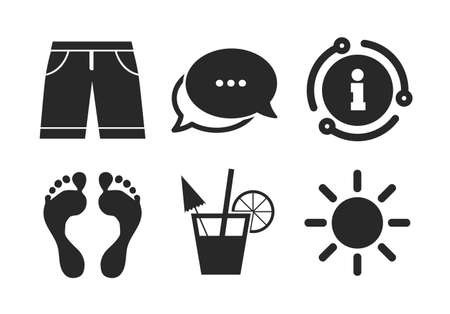 Cocktail, human footprints and swimming trunks signs. Chat, info sign. Beach holidays icons. Summer sun symbol. Classic style speech bubble icon. Vector