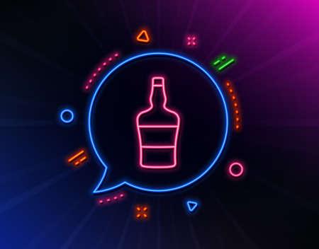 Scotch bottle line icon. Neon laser lights. Brandy alcohol sign. Glow laser speech bubble. Neon lights chat bubble. Banner badge with scotch bottle icon. Vector Illusztráció