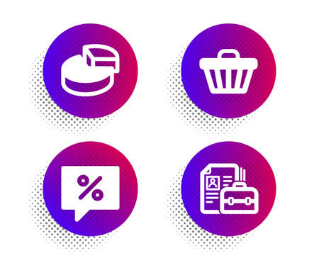 Discount message, Pie chart and Shop cart icons simple set. Halftone dots button. Vacancy sign. Special offer, 3d graph, Web buying. Hiring job. Finance set. Classic flat discount message icon. Vector Illustration