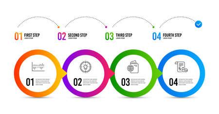 Column diagram, Idea and Travel passport line icons set. Timeline infographic. Medical prescription sign. Sale statistics, Solution, Trip document. Medicine drugs. Business set. Vector