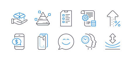 Set of Technology icons, such as Pyramid chart, Phone payment, Smartphone glass, Settings blueprint, Smile chat, Increasing percent, Hold box, Time management, Checklist, Resilience. Vector