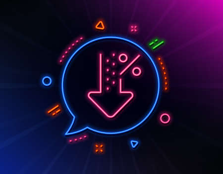 Low percent line icon. Neon laser lights. Discount sign. Credit percentage decrease symbol. Glow laser speech bubble. Neon lights chat bubble. Banner badge with low percent icon. Vector Иллюстрация