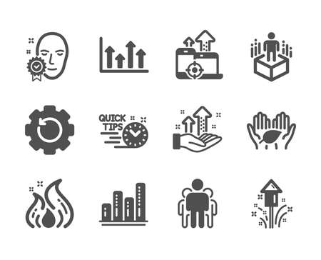Set of Science icons, such as Fireworks, Group, Seo devices, Graph chart, Fair trade, Analysis graph, Face verified, Recovery gear, Augmented reality, Fire energy, Upper arrows, Quick tips. Vector Çizim