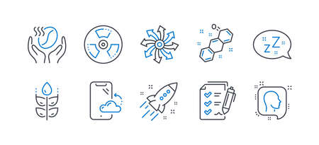 Set of Business icons, such as Coffee, Smartphone cloud, Versatile, Gluten free, Survey checklist, Startup rocket, Sleep, Chemical formula, Chemical hazard, Head line icons. Line coffee icon. Vector Illustration