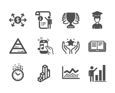 Set of Education icons, such as Pyramid chart, Trade infochart, Winner, Graph chart, Student, Time, Manual doc, Music phone, Education, Dollar exchange, Ranking classic icons. Vector