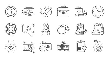Medical line icons. Hospital assistance, Health food diet and Laboratory. Chemistry linear icon set. Quality line set. Vector Illusztráció