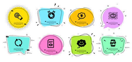 Touchscreen gesture, Ranking star and Smile line icons set. Chat bubbles with quotes. Phone messages, Artificial intelligence and Energy signs. View document, Refresh symbols. Vector