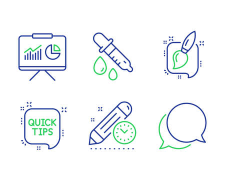 Chemistry pipette, Presentation and Project deadline line icons set. Quick tips, Painting brush and Chat message signs. Laboratory, Board with charts, Time management. Helpful tricks. Vector