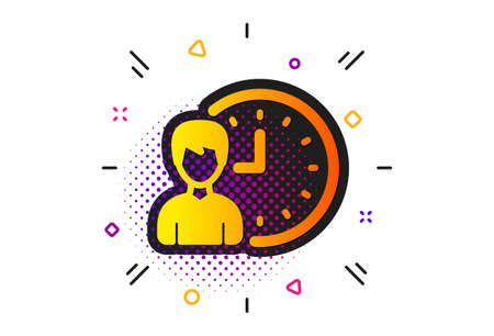 Working hours or Time management sign. Halftone circles pattern. Business project deadline icon. Classic flat working hours icon. Vector