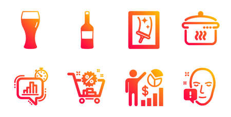 Wine, Window cleaning and Boiling pan line icons set. Statistics timer, Beer glass and Shopping cart signs. Seo statistics, Face attention symbols. Merlot bottle, Housekeeping service. Vector 일러스트