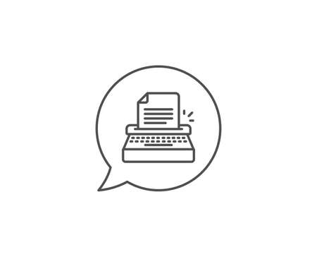 Typewriter line icon. Chat bubble design. Copywriting sign. Writer machine symbol. Outline concept. Thin line typewriter icon. Vector