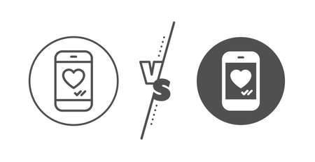 Social media like sign. Versus concept. Phone with heart line icon. Smartphone Love message symbol. Line vs classic love chat icon. Vector