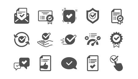 Approuver les icônes. Liste de contrôle, certificat et médaille de récompense. Ensemble d'icônes classiques de document certifié. Ensemble de qualité. Vecteur