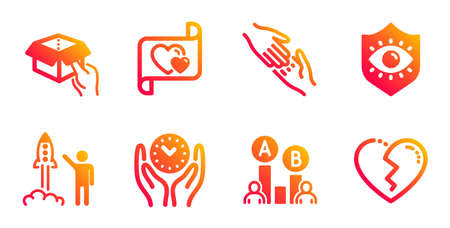 Helping hand, Launch project and Hold box line icons set. Eye protection, Safe time and Ab testing signs. Love letter, Broken heart symbols. Give gesture, Business innovation. People set. Vector