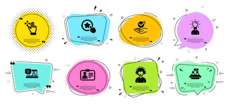 Consultant, Employees talk and Smile line icons set. Chat bubbles with quotes. Education, Approved and Loyalty star signs. Move gesture, Id card symbols. Call center, Collaboration. People set. Vector