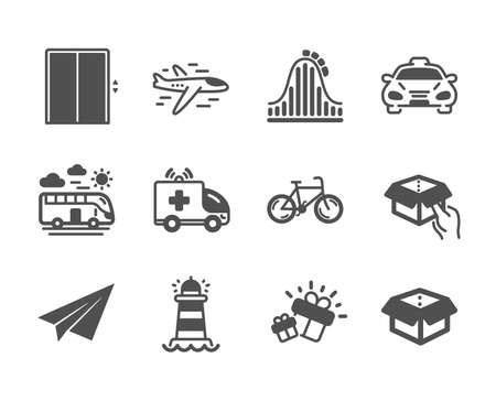 Set of Transportation icons, such as Bus travel, Open box, Taxi, Airplane, Gift, Hold box, Lift, Roller coaster, Ambulance car, Paper plane, Lighthouse, Bicycle classic icons. Bus travel icon. Vector Çizim