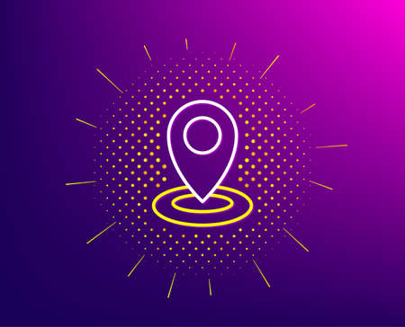 Location line icon. Halftone pattern. Map pointer sign. Gradient background. Location line icon. Yellow halftone pattern. Vector