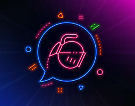 Coffee pot line icon. Neon laser lights. Hot drink sign. Tea glass mug symbol. Glow laser speech bubble. Neon lights chat bubble. Banner badge with coffee pot icon. Vector