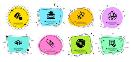 Ab testing, Vinyl record and Medical tablet line icons set. Chat bubbles with quotes. Quiz test, Helping hand and Chemical formula signs. Hold t-shirt, Coffee shop symbols. A test, Retro music. Vector