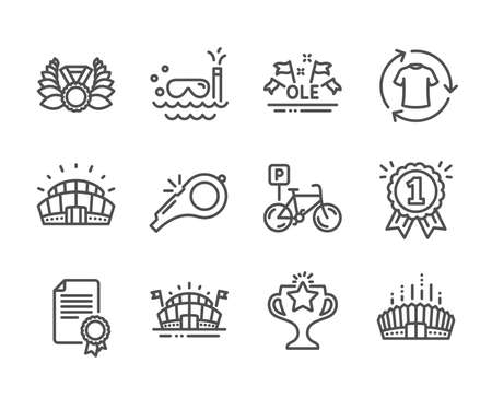 Set of Sports icons, such as Victory, Whistle, Sports arena, Certificate, Arena stadium, Scuba diving, Reward, Ole chant, Sports stadium, Laureate medal, Bicycle parking, Change clothes. Vector